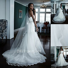 2017 Summer Wedding Veils Lace Applique Bridal Cathedral Long Veil White Ivory