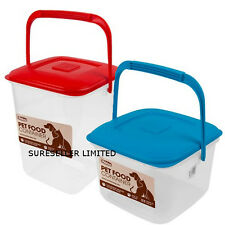 DRY DOG CAT PET ANIMAL FOOD STORAGE BIN CONTAINER BOX FEED BIRD SEED  LID HANDLE