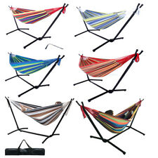 Double Hammock w/ Space Saving Steel Stand and Portable Carrying Case Cotton