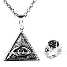 316L Stainless Steel Eye of Providence All Seeing Eye Finger Ring Necklace Set