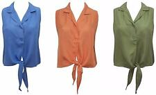 COCOON 100% SOFT PURE SILK TIE FRONT CROPPED TOP IN BLUE GREEN & PEACH 12 14 16