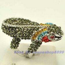 Size 6,7,8 Ring,REAL DAINTY GEMSTONE LIZARD 18K WHITE GOLD GP SOLID FILL GEP