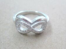 925 STERLING SILVER cz Double INFINITY Women Ring sz J L N P R Valentines Day