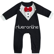 Baby Toddler Boys Spring Autumn Cotton Gentleman Romper Jumpsuit Outfit Clothes