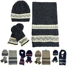 Womens Ladies Woolly Thick Knit Hat Scarf And Mitten Gloves Set Unisex Warm Cozy