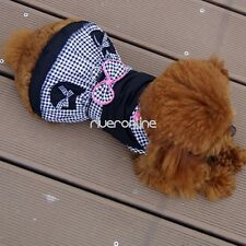 Black Plaids Small Girl Dog Pet Clothes Apparel Bowtie Princess Summer Dress