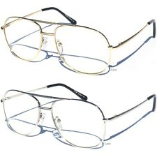 Classic Vintage Retro Aviator Clear Lens Metal Frame Eyeglasses Glasses New