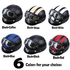 Unisex Motorcycle ATV Scooter Open Face Leather Half Helmet with Vintage Goggles