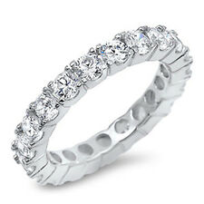 Sterling Silver Women's CZ Anniversary Eternity Wedding Band Ring Size 5-9