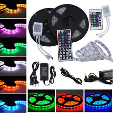5/10M RGB 5050 SMD Waterproof 300 LED Light Strip Flexible + IR Remote 12V Power