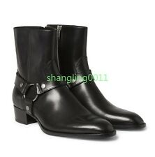 Fashion Mens Pointy Toe Black Leather Low Heel Buckle Side Zip Ankle Boots Shoes