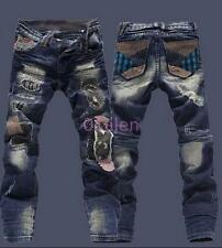 Mens Torn Patches beggar Jeans Straight Leg Ripped Hole Pants Trousers 28-36