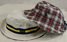 NWT Polo Ralph Lauren REVERSIBLE BUCKET HAT White Madras Plaid