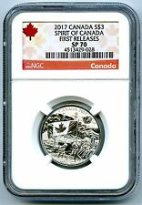 2017 $3 CANADA SILVER SPECIMEN PROOF NGC SP70 SPIRIT OF CANADA FIRST RELEASES