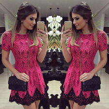 Women Ladies Sexy Mini Dress Clubwear Party Evening Cocktail Red Lace Dress
