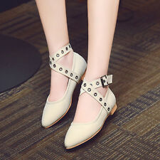 Womens Europe Pointy Toe Flats Heels Ankle Buckles Ballet Dress Shoes Loafers 46