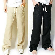 Fashion New Mens Casual Loose Drawstring Waist Solid Linen Trousers Beach Pants