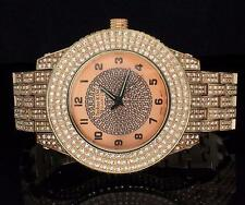 56mm 14k Gold Tone Iced out Simulated Diamond Hip Hop Rapper Techno King Watch