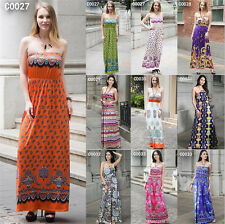 New Womens Boho Ladies Floral Bandeau Cocktail Party Long Maxi Casual Dress 8-20