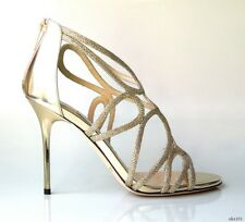 new $1100 JIMMY CHOO 'Layla' gold glitter open-toe strappy heels shoes - SEXY