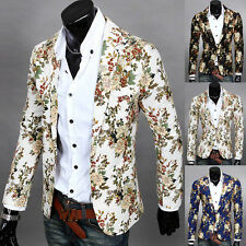 Fashion Mens Slim Fit Printing Casual Long Sleeve One Button Blazer Coat Jacket