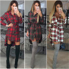Womens Long Sleeve Tartan Plaid Check Mini Shirt Dress Ladys Casual Shirt Blouse