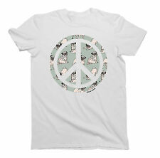 Mens/Ladies T-Shirt PUG DOG Peace Sign Unisex Birthday Gift by Buzz Shirts