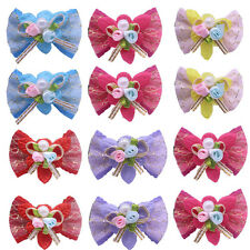Dog Hair Bows Solid Bows Flowers Dog Bow Rubber Bands Pet Grooming bows Topknot