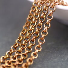 2ft Solid Red Brass Round Link Rolo Chains handmade jewelry making chains c195