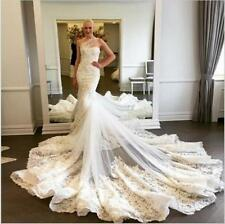2017 Summer Mermaid Wedding Dresses One Shoulder Lace Train Bridal Gowns Custom