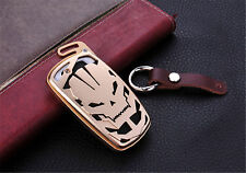 For BMW Cool Skull Car Key Fob Case Pop Aluminum Cover Genuine Leather Keychain