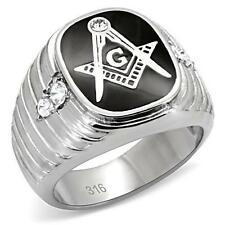 New Men's Stainless Steel Freemason Master Mason Masonic Lodge Silver Ring