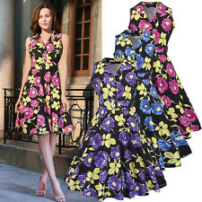 New 50s Retro Rockabilly Vintage Floral Print Evening Cocktail Party Swing Dress