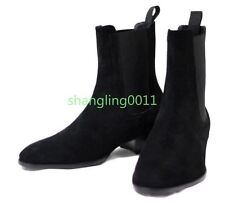 Mens Fashion Suede Leather Pointy Toe Heels Ankle Boots Combat Chelsea Shoes 46