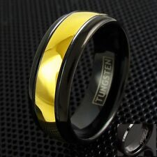 Engraved 8mm Black Tungsten Men's Gold Domed Stripe Wedding Band Ring Size 6-13
