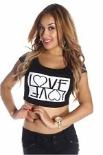 DEALZONE Sexy LOVE Graphic Crop Top S Small Women Black Casual Short Sleeve