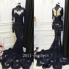 2017 Luxury Beaded Evening Dresses Sexy Black Lace Mermaid Formal Prom Gowns New