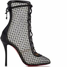 Christian Louboutin HOTERO Fishnet Corset Lace Up Bootie Boots Heels Black $1395