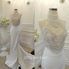 2017 Luxury Pearls Beading Evening Dresses Elegant Mermaid Formal Prom Gowns New