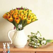 Artificial 12-Head Silk Flowers Tulip Handheld Bouquet Wedding Decor 6 Colors