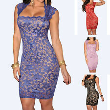 Women Sexy Pack Hip Sleeveless Tight Straight Collar Embroidered Lace Dress