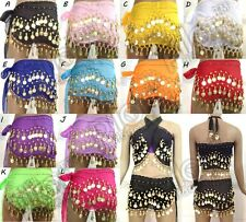 3 ROWS COINS BELTS BELLY DANCE HIP SCARF WRAP DANCER SKIRT COSTUME ALL COLOURS