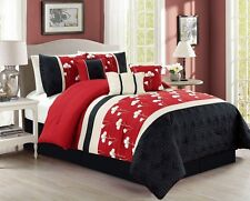 Sophia 7-piece Chenille Flowers Pleated Embroidery Floral Comforter Set Burgundy