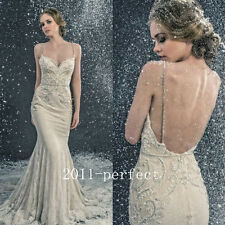 2017 Summer Sexy Mermaid Wedding Dresses Beaded Embroidery Spaghetti Bridal Gown