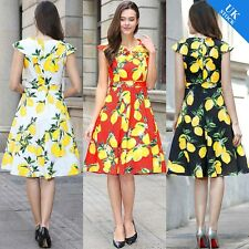 Summer Sleeveless Lemon Floral Print Hepburn Vintage 50s Rockabilly Swing Dress