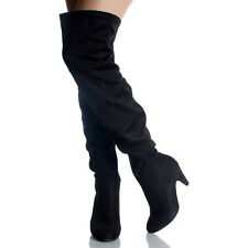 Women Thigh High Stretchy Slouch Faux Suede Over The Knee Heel Sexy Boots
