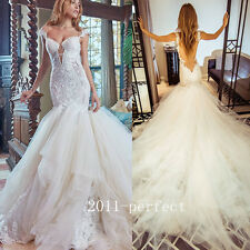 2017 Summer Beading Lace Wedding Dresses Sexy Mermaid Backless Bridal Gowns New