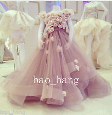 Cute Pink Flower Girl Dresses Appliques Girls Birthday Party Formal Gowns Custom
