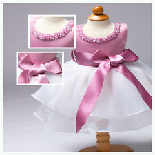 Infant Baby Girls Pearls Wedding Birthday Christening Tutu Dresses Baptism Gown
