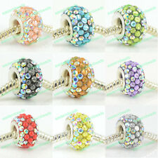AB CRYSTAL & RESIN 925 STERLING SILVER CORE CHARMS BEAD FIT EUROPEAN BRACELET